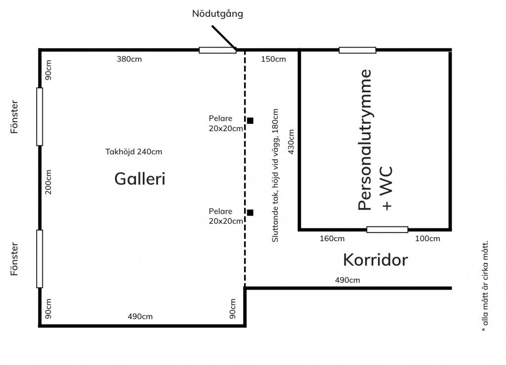 Översikt över gallerirum och korridor